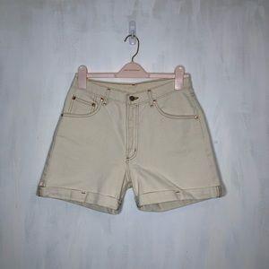 Vintage Farlow Off-white Denim High Rise Shorts
